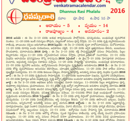 Dhannus Rasi Phalalu 2016 Monthly Predictions in Telugu