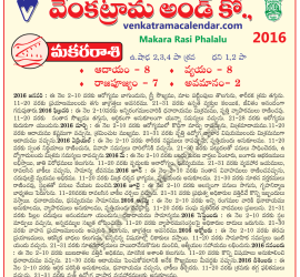 Makara Rasi Phalalu 2016 Monthly Predictions in Telugu